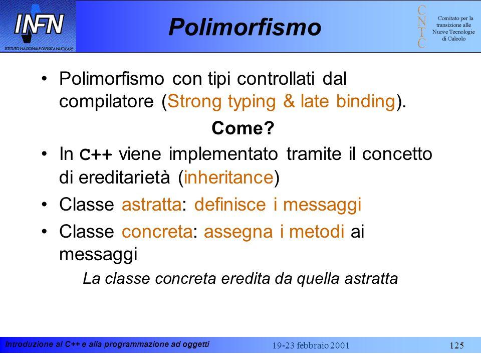 Introduzione al C++ e alla programmazione ad oggetti 19-23 febbraio 2001125 Polimorfismo Polimorfismo con tipi controllati dal compilatore (Strong typ