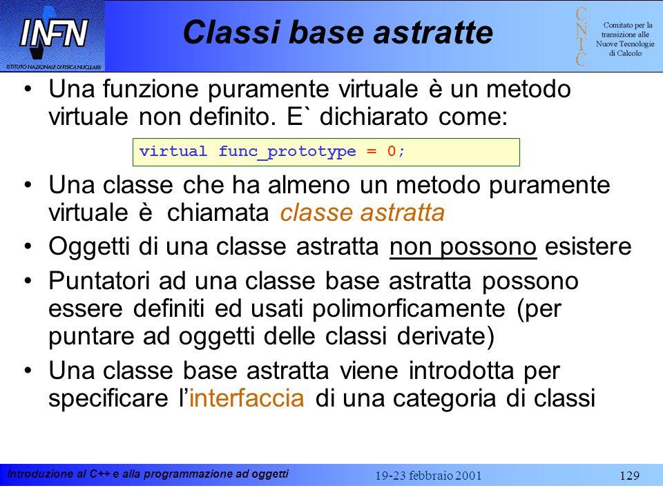 Introduzione al C++ e alla programmazione ad oggetti 19-23 febbraio 2001129 Classi base astratte Una funzione puramente virtuale è un metodo virtuale
