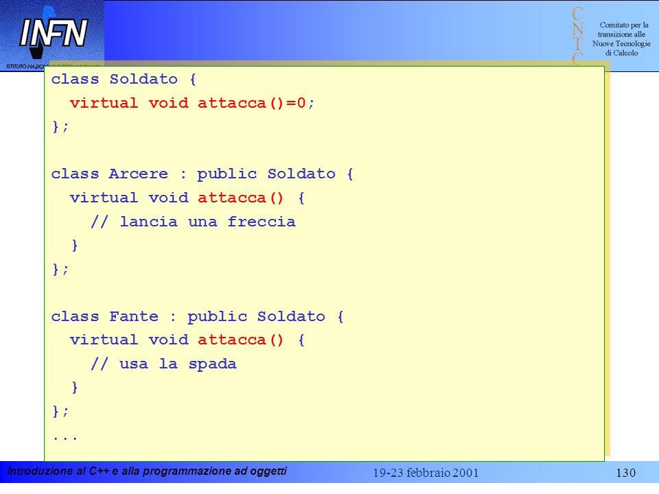 Introduzione al C++ e alla programmazione ad oggetti 19-23 febbraio 2001130 class Soldato { virtual void attacca()=0; }; class Arcere : public Soldato