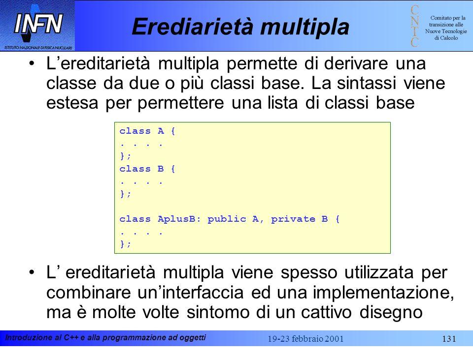 Introduzione al C++ e alla programmazione ad oggetti 19-23 febbraio 2001131 Erediarietà multipla Lereditarietà multipla permette di derivare una class