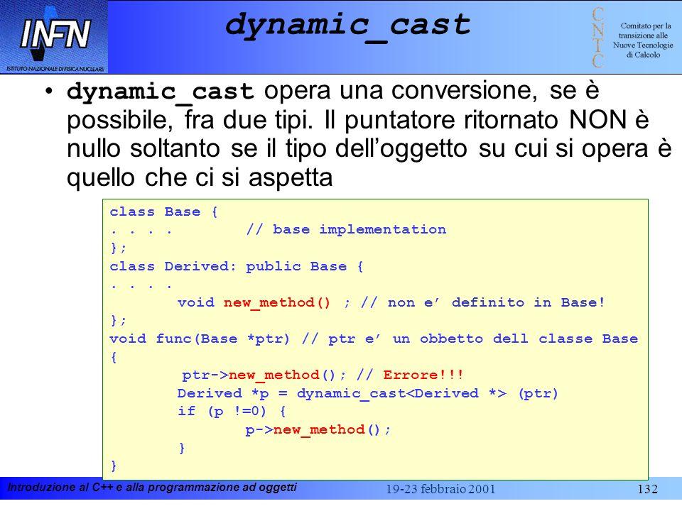 Introduzione al C++ e alla programmazione ad oggetti 19-23 febbraio 2001132 class Base {....// base implementation }; class Derived: public Base {.. v