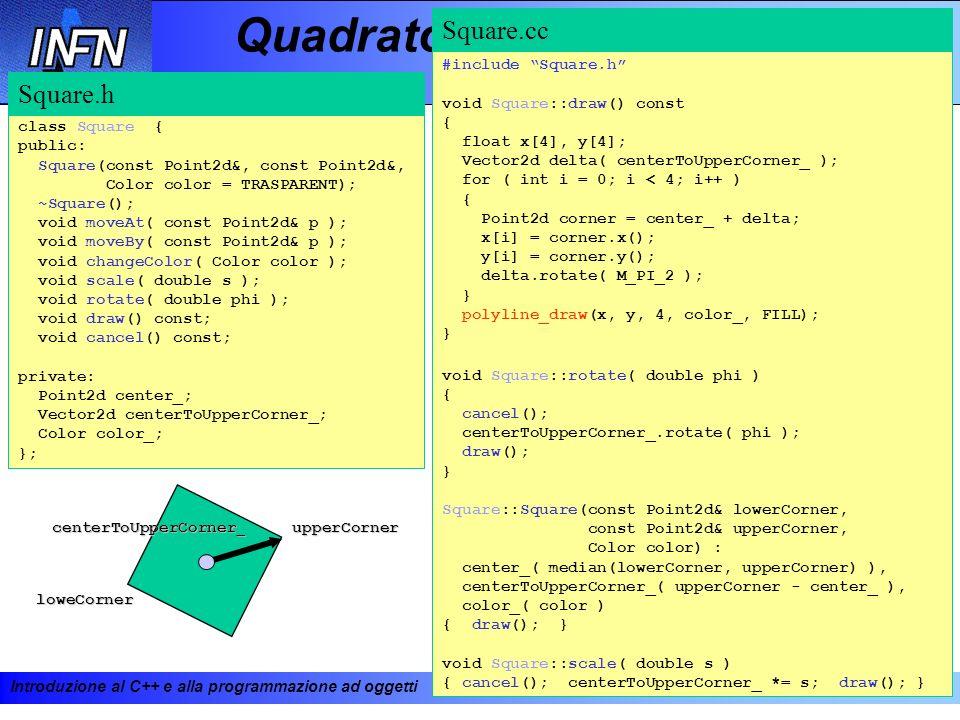 Introduzione al C++ e alla programmazione ad oggetti 19-23 febbraio 2001138 Quadrato class Square { public: Square(const Point2d&, const Point2d&, Col