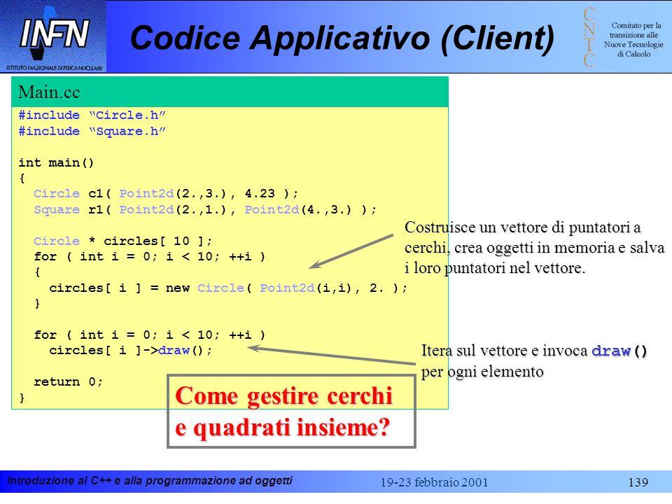 Introduzione al C++ e alla programmazione ad oggetti 19-23 febbraio 2001139 Codice Applicativo (Client) #include Circle.h #include Square.h int main()