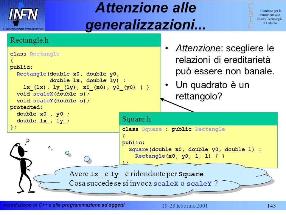 Introduzione al C++ e alla programmazione ad oggetti 19-23 febbraio 2001143 Attenzione alle generalizzazioni... class Rectangle { public: Rectangle(do