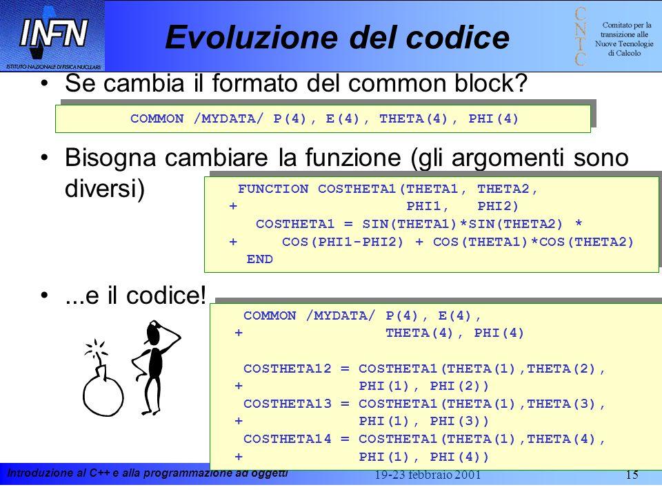 Introduzione al C++ e alla programmazione ad oggetti 19-23 febbraio 200115 COMMON /MYDATA/ P1(4), P2(4), P3(4), P4(4) Evoluzione del codice Se cambia