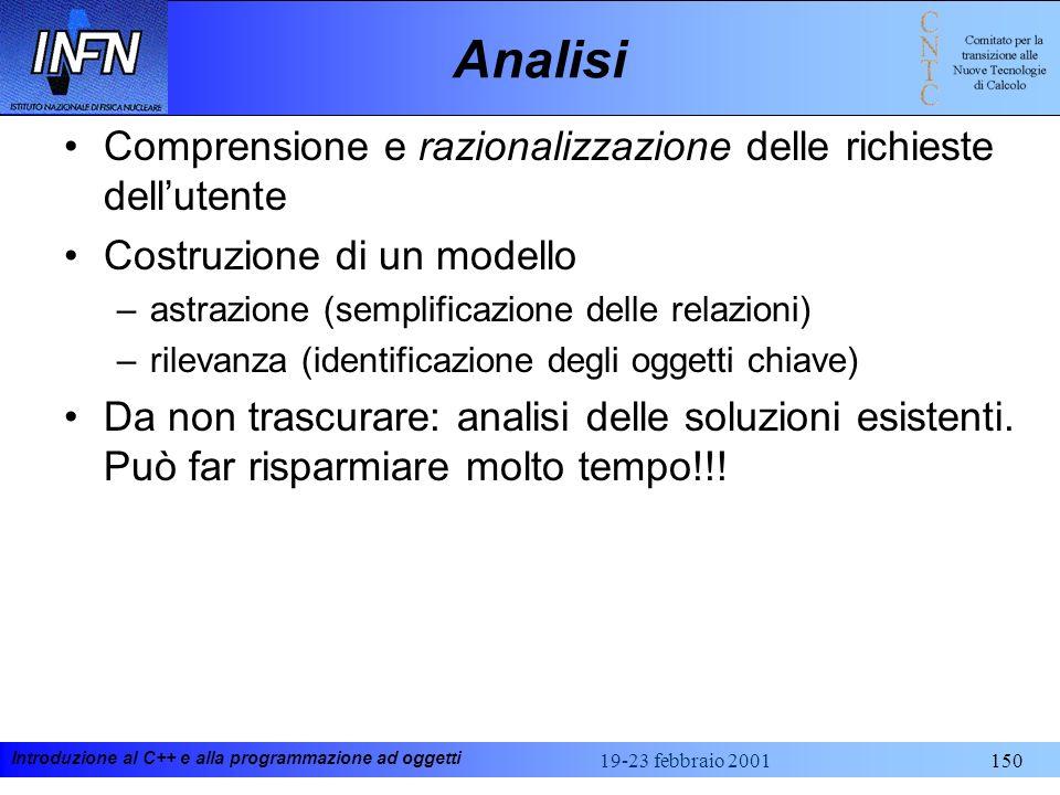 Introduzione al C++ e alla programmazione ad oggetti 19-23 febbraio 2001150 Analisi Comprensione e razionalizzazione delle richieste dellutente Costru