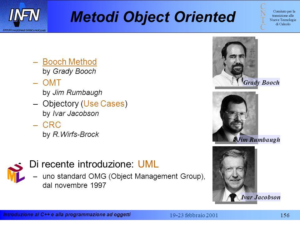 Introduzione al C++ e alla programmazione ad oggetti 19-23 febbraio 2001156 Metodi Object Oriented –Booch Method by Grady Booch –OMT by Jim Rumbaugh –