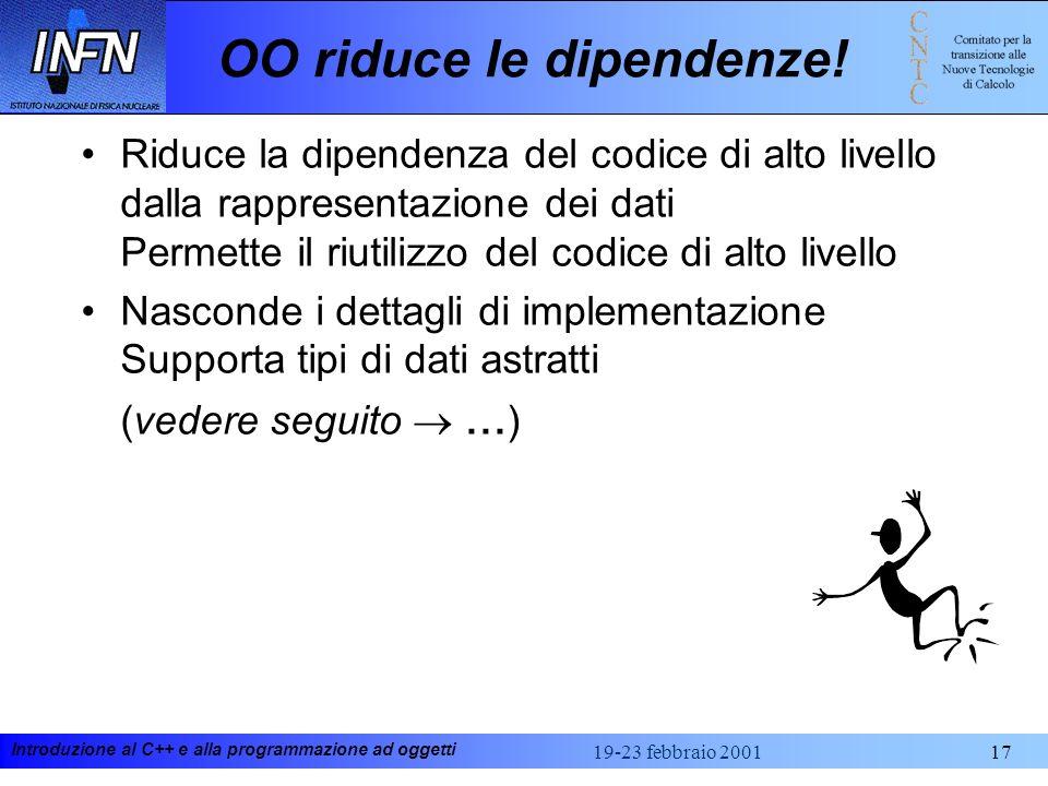 Introduzione al C++ e alla programmazione ad oggetti 19-23 febbraio 200117 OO riduce le dipendenze! Riduce la dipendenza del codice di alto livello da