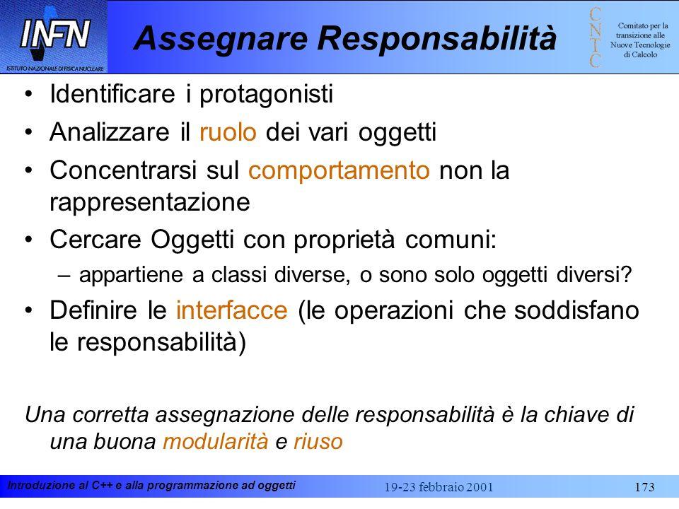 Introduzione al C++ e alla programmazione ad oggetti 19-23 febbraio 2001173 Assegnare Responsabilità Identificare i protagonisti Analizzare il ruolo d