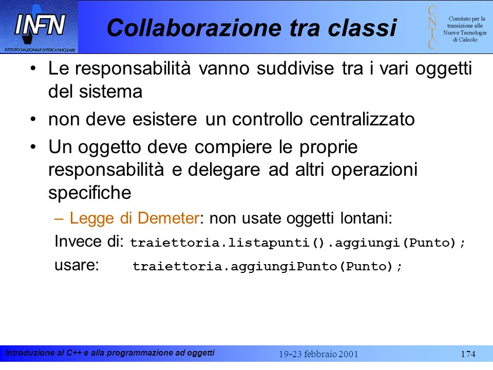 Introduzione al C++ e alla programmazione ad oggetti 19-23 febbraio 2001174 Collaborazione tra classi Le responsabilità vanno suddivise tra i vari ogg