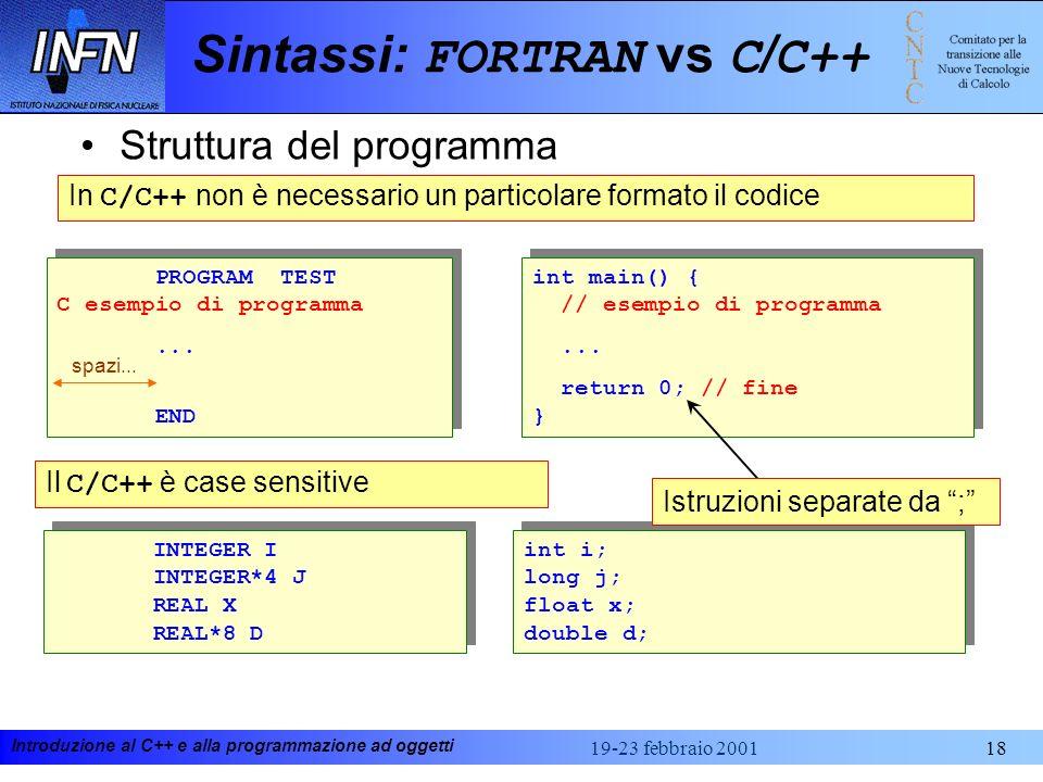 Introduzione al C++ e alla programmazione ad oggetti 19-23 febbraio 200118 Sintassi: FORTRAN vs C / C++ Struttura del programma PROGRAM TEST C esempio