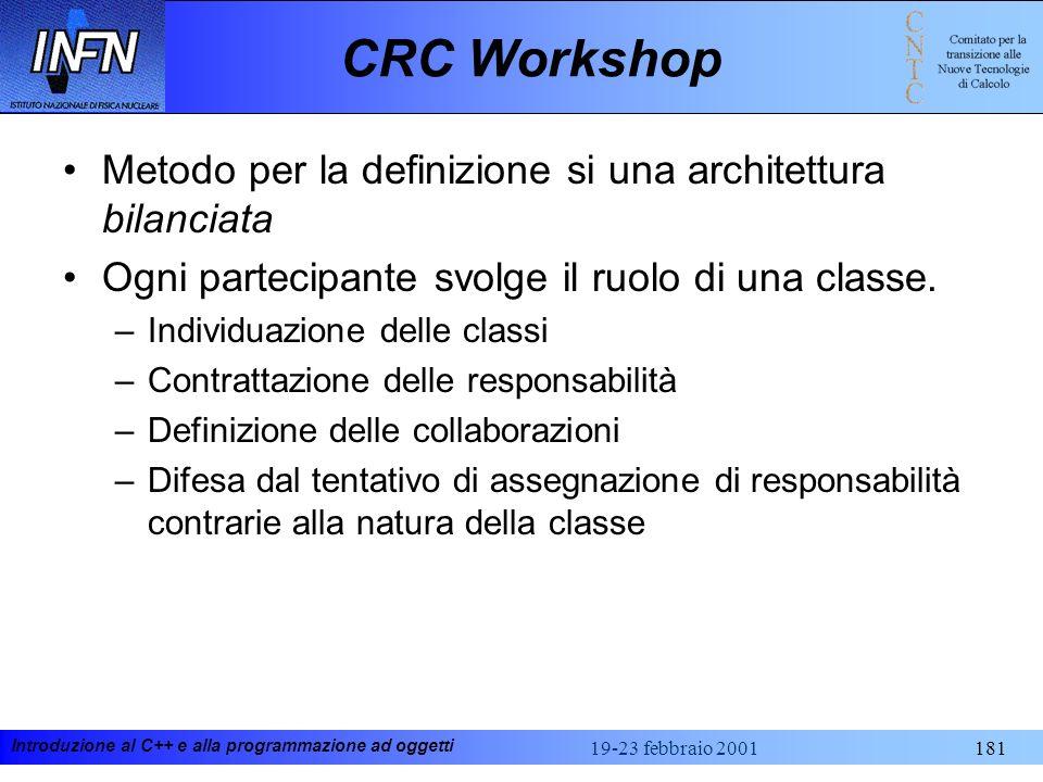 Introduzione al C++ e alla programmazione ad oggetti 19-23 febbraio 2001181 CRC Workshop Metodo per la definizione si una architettura bilanciata Ogni