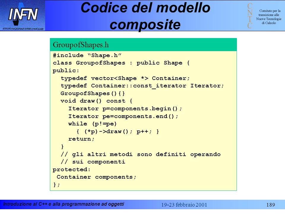 Introduzione al C++ e alla programmazione ad oggetti 19-23 febbraio 2001189 Codice del modello composite #include Shape.h class GroupofShapes : public