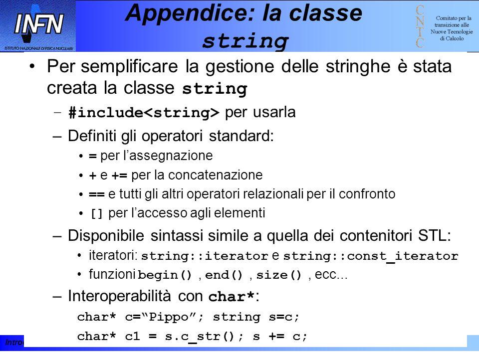 Introduzione al C++ e alla programmazione ad oggetti 19-23 febbraio 2001193 Appendice: la classe string Per semplificare la gestione delle stringhe è