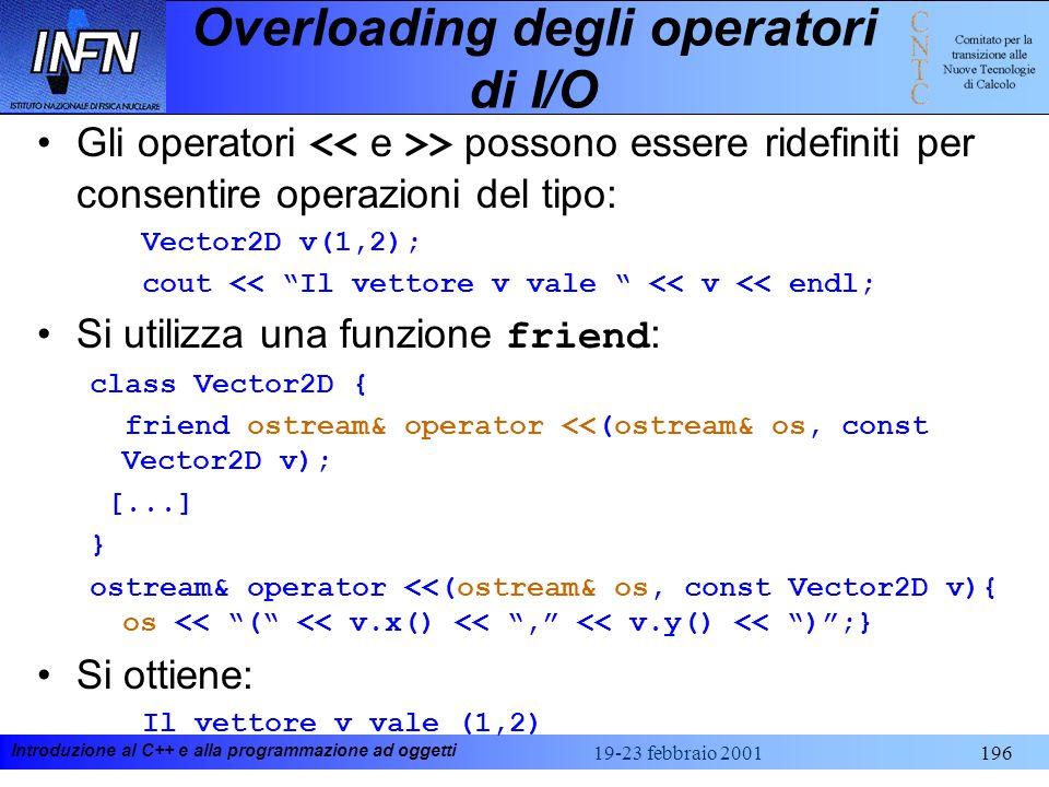 Introduzione al C++ e alla programmazione ad oggetti 19-23 febbraio 2001196 Overloading degli operatori di I/O Gli operatori > possono essere ridefini