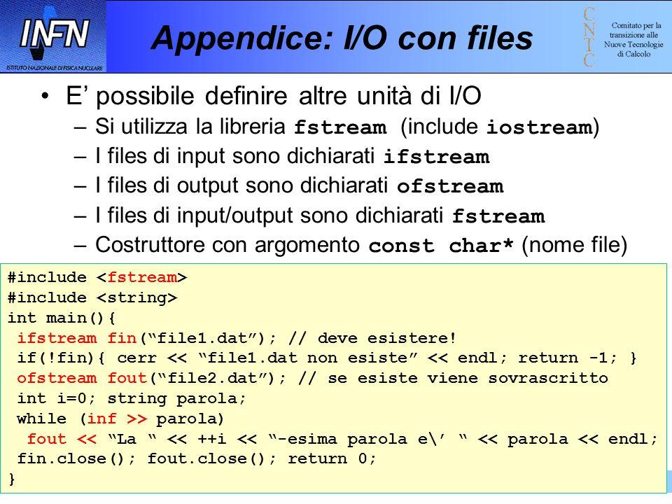 Introduzione al C++ e alla programmazione ad oggetti 19-23 febbraio 2001197 Appendice: I/O con files E possibile definire altre unità di I/O –Si utili
