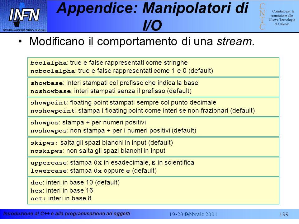 Introduzione al C++ e alla programmazione ad oggetti 19-23 febbraio 2001199 Appendice: Manipolatori di I/O Modificano il comportamento di una stream.