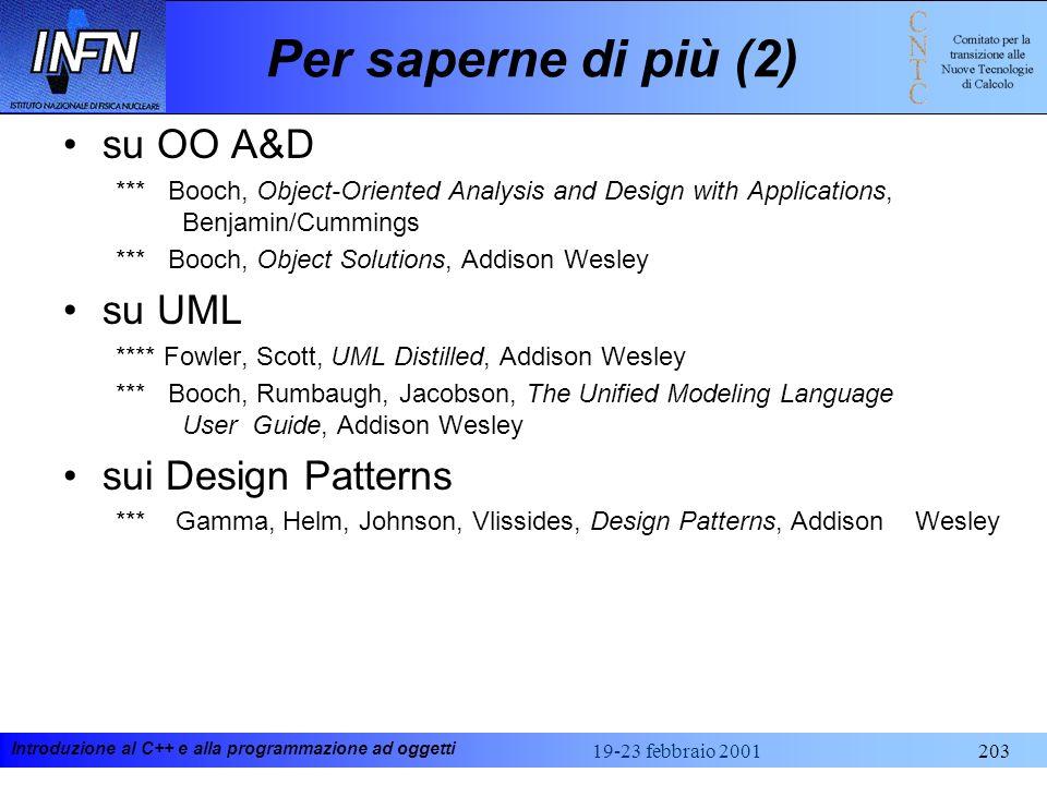 Introduzione al C++ e alla programmazione ad oggetti 19-23 febbraio 2001203 Per saperne di più (2) su OO A&D *** Booch, Object-Oriented Analysis and D
