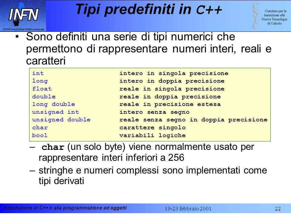 Introduzione al C++ e alla programmazione ad oggetti 19-23 febbraio 200122 Tipi predefiniti in C++ Sono definiti una serie di tipi numerici che permet