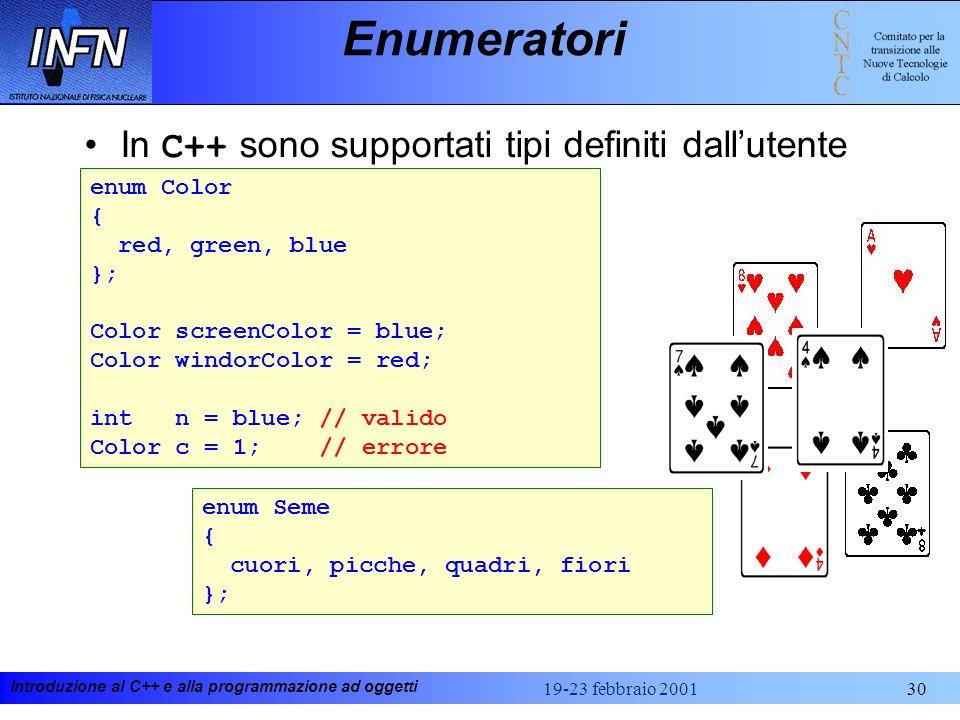 Introduzione al C++ e alla programmazione ad oggetti 19-23 febbraio 200130 Enumeratori In C++ sono supportati tipi definiti dallutente enum Color { re