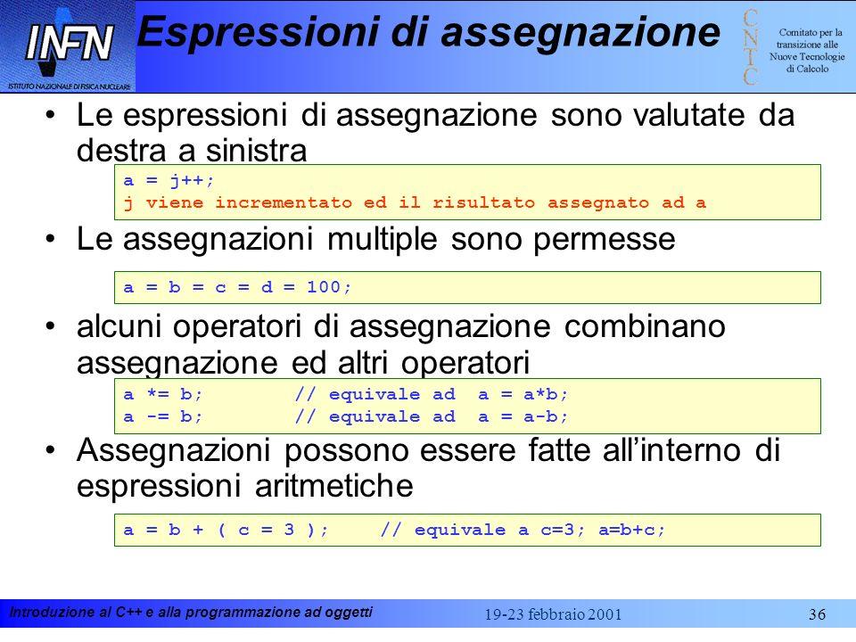 Introduzione al C++ e alla programmazione ad oggetti 19-23 febbraio 200136 Espressioni di assegnazione Le espressioni di assegnazione sono valutate da