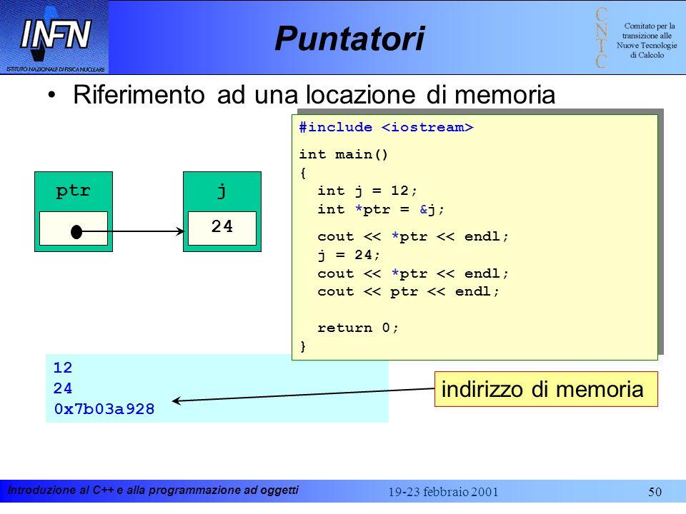 Introduzione al C++ e alla programmazione ad oggetti 19-23 febbraio 200150 12 24 0x7b03a928 Puntatori Riferimento ad una locazione di memoria j 12 ptr