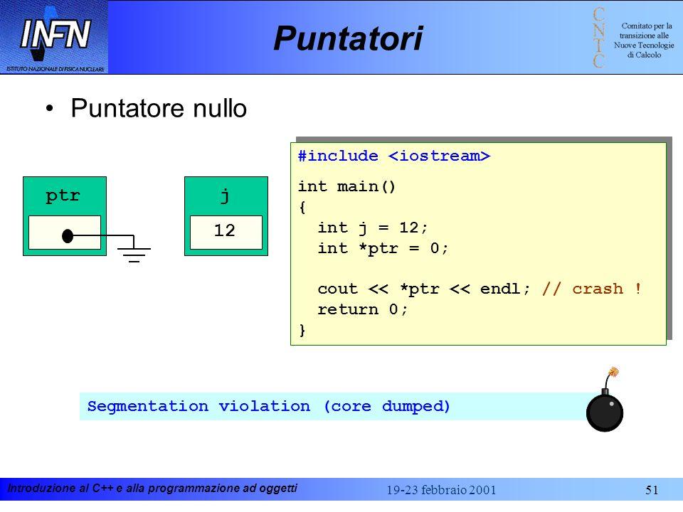 Introduzione al C++ e alla programmazione ad oggetti 19-23 febbraio 200151 Puntatori Puntatore nullo #include int main() { int j = 12; int *ptr = 0; c