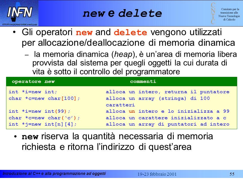 Introduzione al C++ e alla programmazione ad oggetti 19-23 febbraio 200155 new e delete Gli operatori new and delete vengono utilizzati per allocazion