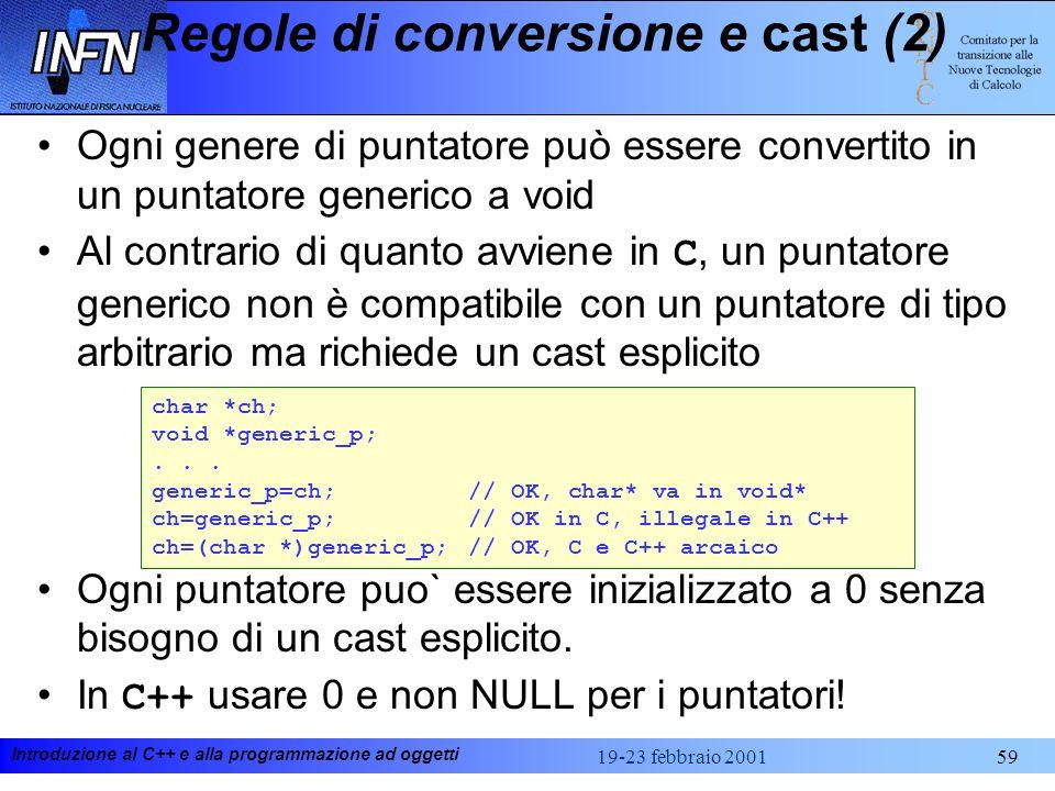 Introduzione al C++ e alla programmazione ad oggetti 19-23 febbraio 200159 Regole di conversione e cast (2) Ogni genere di puntatore può essere conver