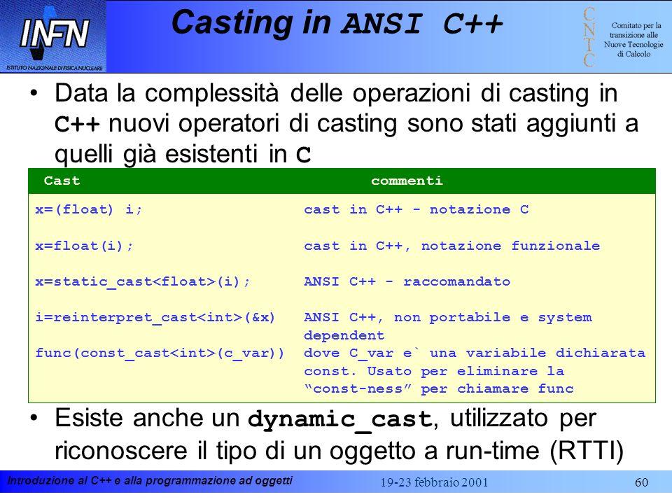 Introduzione al C++ e alla programmazione ad oggetti 19-23 febbraio 200160 Casting in ANSI C++ Data la complessità delle operazioni di casting in C++