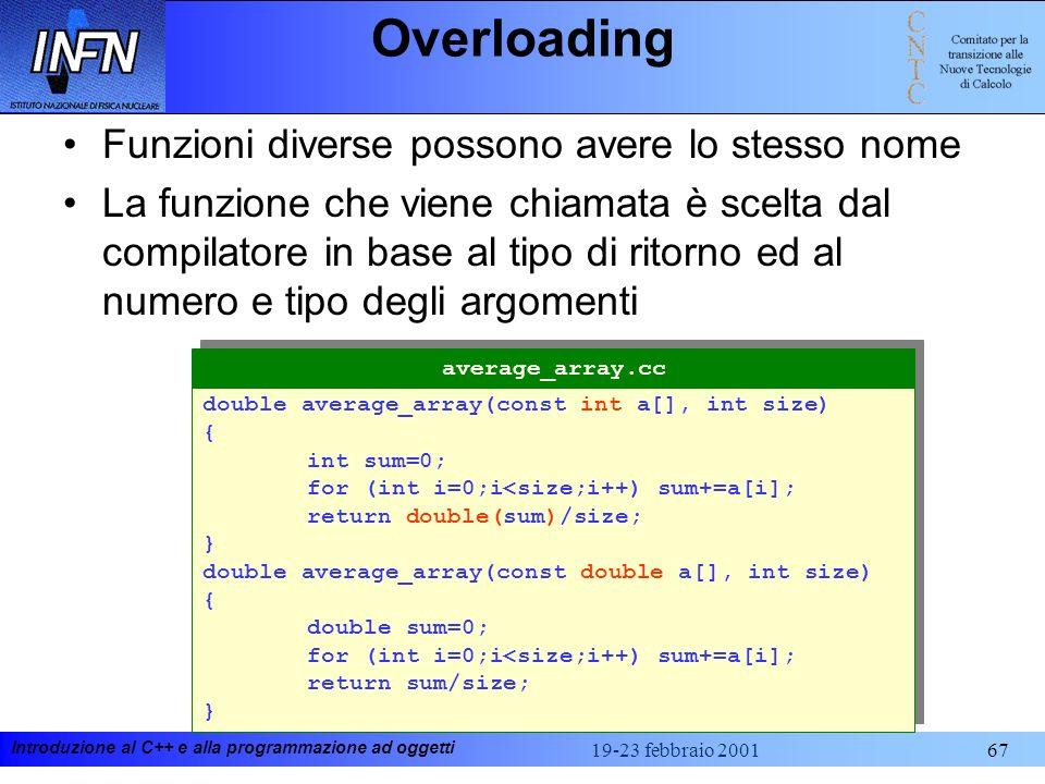 Introduzione al C++ e alla programmazione ad oggetti 19-23 febbraio 200167 Overloading Funzioni diverse possono avere lo stesso nome La funzione che v