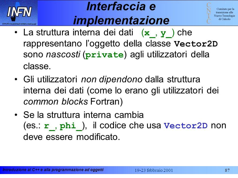 Introduzione al C++ e alla programmazione ad oggetti 19-23 febbraio 200187 Interfaccia e implementazione La struttura interna dei dati ( x_, y_ ) che
