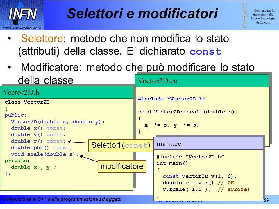 Introduzione al C++ e alla programmazione ad oggetti 19-23 febbraio 200189 Selettore: metodo che non modifica lo stato (attributi) della classe. E dic