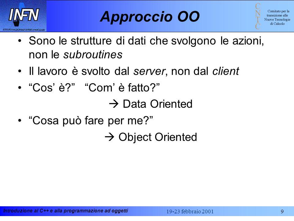 Introduzione al C++ e alla programmazione ad oggetti 19-23 febbraio 200160 Casting in ANSI C++ Data la complessità delle operazioni di casting in C++ nuovi operatori di casting sono stati aggiunti a quelli già esistenti in C Esiste anche un dynamic_cast, utilizzato per riconoscere il tipo di un oggetto a run-time (RTTI) x=(float) i;cast in C++ - notazione C x=float(i);cast in C++, notazione funzionale x=static_cast (i);ANSI C++ - raccomandato i=reinterpret_cast (&x)ANSI C++, non portabile e system dependent func(const_cast (c_var))dove C_var e` una variabile dichiarata const.