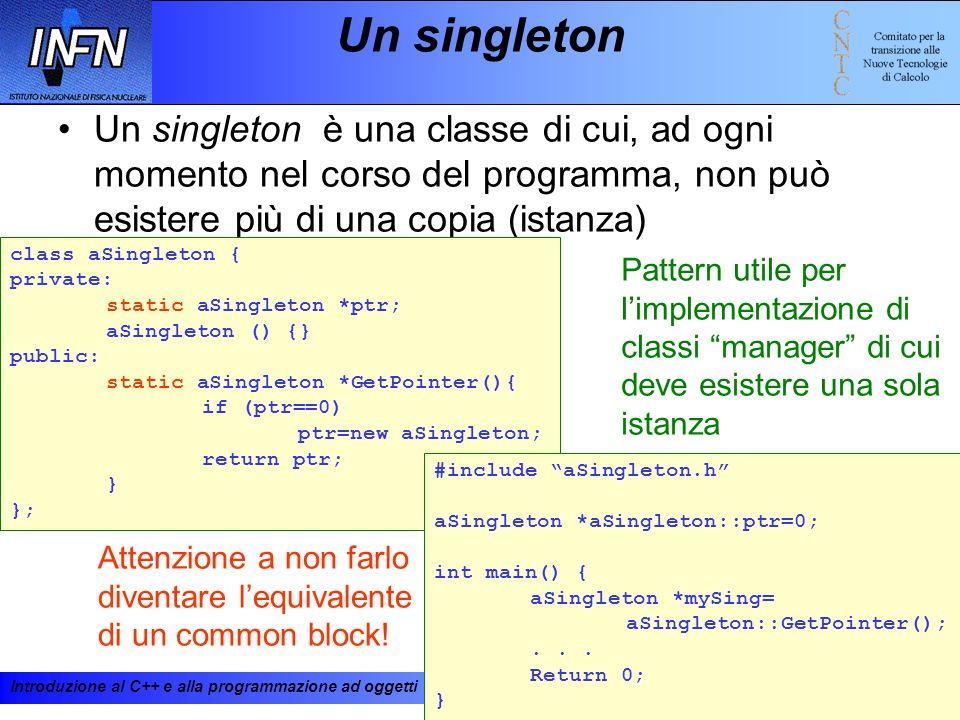 Introduzione al C++ e alla programmazione ad oggetti 19-23 febbraio 200194 Un singleton Un singleton è una classe di cui, ad ogni momento nel corso de