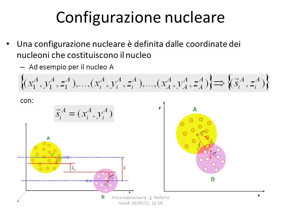 13 Configurazione nucleare Una configurazione nucleare è definita dalle coordinate dei nucleoni che costituiscono il nucleo – Ad esempio per il nucleo A con: Fisica subnucleare - F.