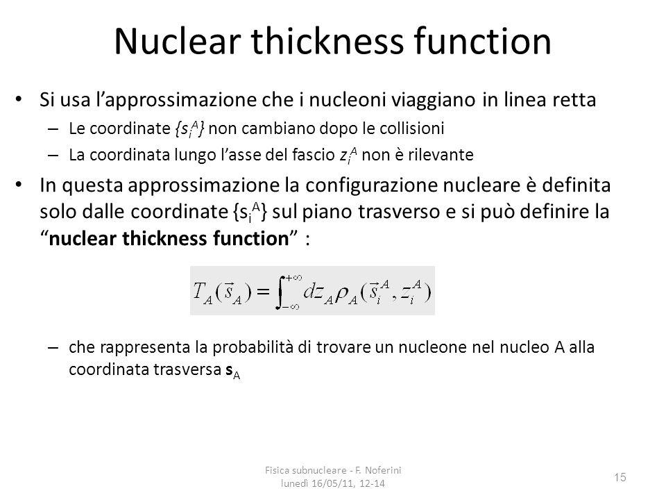 15 Nuclear thickness function Si usa lapprossimazione che i nucleoni viaggiano in linea retta – Le coordinate {s i A } non cambiano dopo le collisioni – La coordinata lungo lasse del fascio z i A non è rilevante In questa approssimazione la configurazione nucleare è definita solo dalle coordinate {s i A } sul piano trasverso e si può definire lanuclear thickness function : – che rappresenta la probabilità di trovare un nucleone nel nucleo A alla coordinata trasversa s A Fisica subnucleare - F.