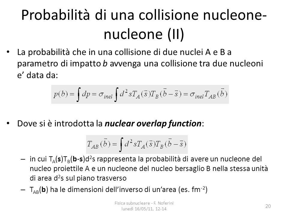 20 Probabilità di una collisione nucleone- nucleone (II) La probabilità che in una collisione di due nuclei A e B a parametro di impatto b avvenga una collisione tra due nucleoni e data da: Dove si è introdotta la nuclear overlap function: – in cui T A (s)T B (b-s)d 2 s rappresenta la probabilità di avere un nucleone del nucleo proiettile A e un nucleone del nucleo bersaglio B nella stessa unità di area d 2 s sul piano trasverso – T AB (b) ha le dimensioni dellinverso di unarea (es.