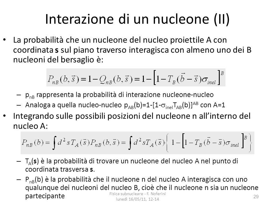 29 Interazione di un nucleone (II) La probabilità che un nucleone del nucleo proiettile A con coordinata s sul piano traverso interagisca con almeno uno dei B nucleoni del bersaglio è: – p nB rappresenta la probabilità di interazione nucleone-nucleo – Analoga a quella nucleo-nucleo p AB (b)=1-[1- inel T AB (b)] AB con A=1 Integrando sulle possibili posizioni del nucleone n allinterno del nucleo A: – T A (s) è la probabilità di trovare un nucleone del nucleo A nel punto di coordinata trasversa s.