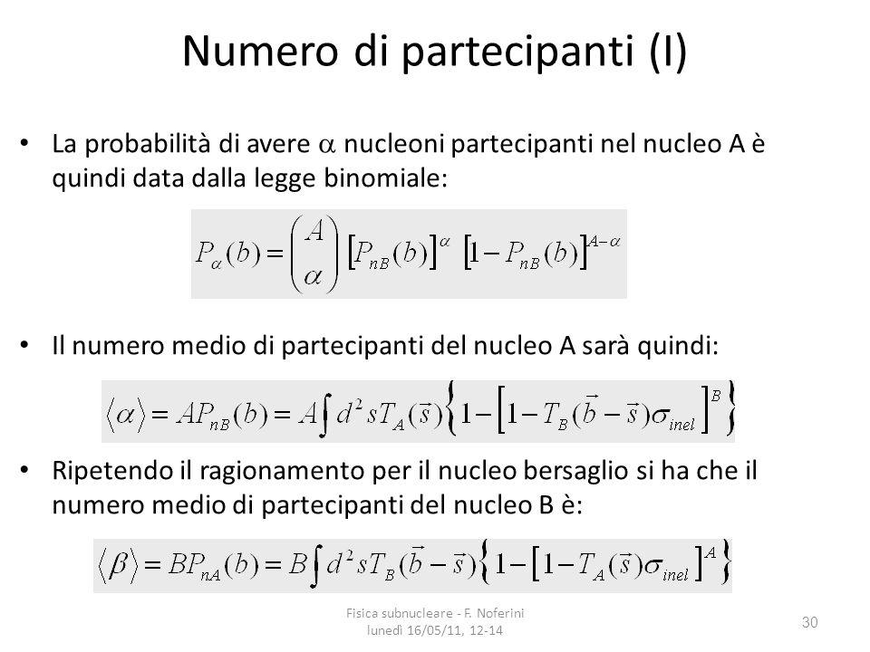 30 Numero di partecipanti (I) La probabilità di avere nucleoni partecipanti nel nucleo A è quindi data dalla legge binomiale: Il numero medio di partecipanti del nucleo A sarà quindi: Ripetendo il ragionamento per il nucleo bersaglio si ha che il numero medio di partecipanti del nucleo B è: Fisica subnucleare - F.