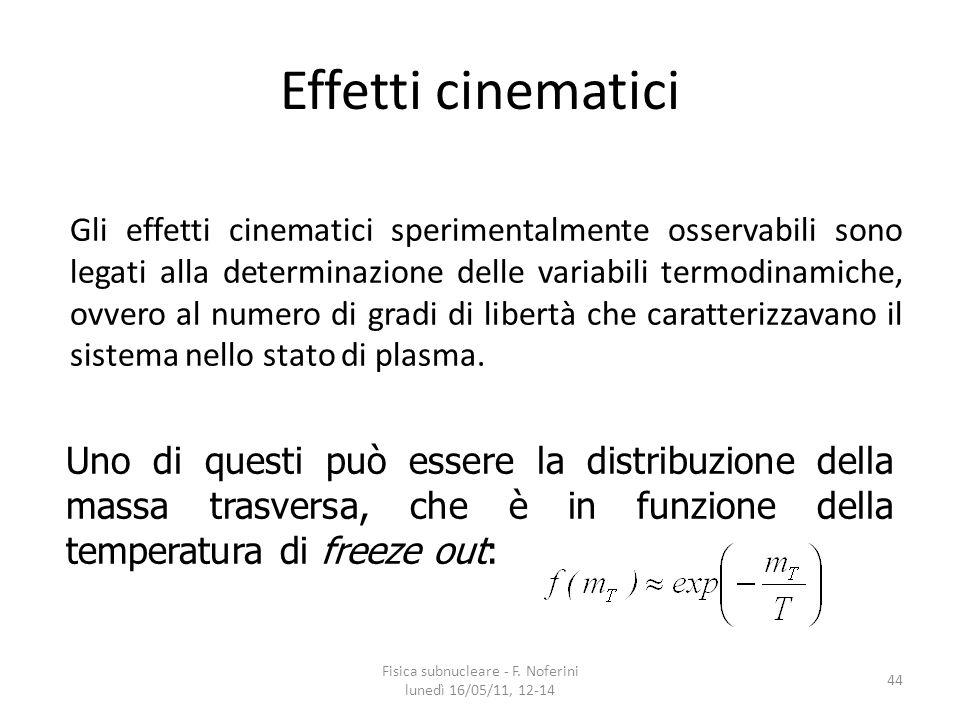 Effetti cinematici Gli effetti cinematici sperimentalmente osservabili sono legati alla determinazione delle variabili termodinamiche, ovvero al numero di gradi di libertà che caratterizzavano il sistema nello stato di plasma.