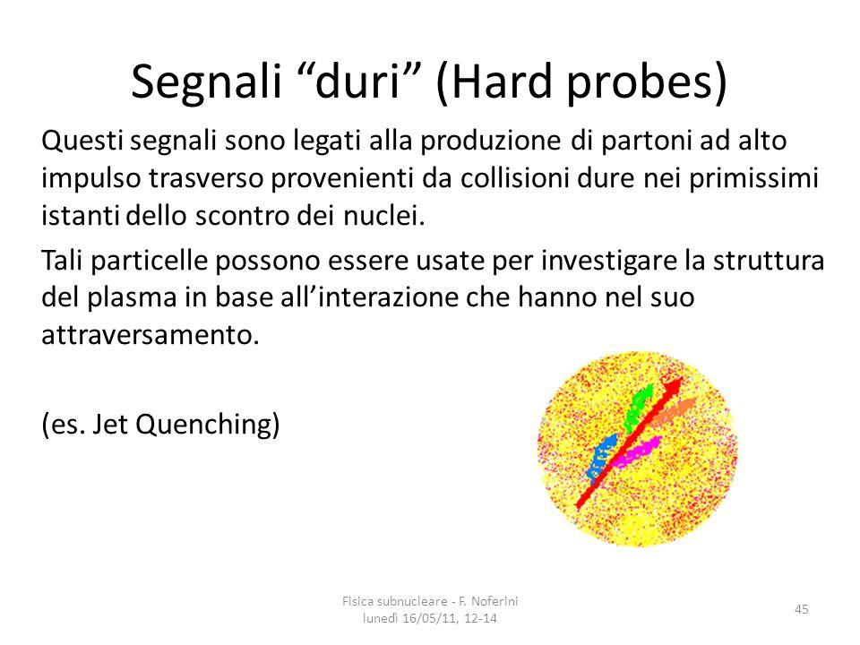 Segnali duri (Hard probes) Questi segnali sono legati alla produzione di partoni ad alto impulso trasverso provenienti da collisioni dure nei primissimi istanti dello scontro dei nuclei.