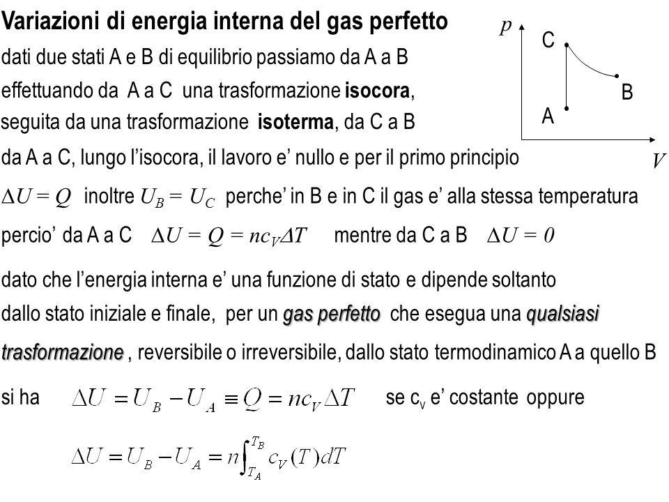 Variazioni di energia interna del gas perfetto se c v e costante effettuando da A a C una trasformazione isocora, dati due stati A e B di equilibrio passiamo da A a B V p A C B da A a C, lungo lisocora, il lavoro e nullo e per il primo principio U = Q inoltre U B = U C perche in B e in C il gas e alla stessa temperatura mentre da C a B U = 0 da A a C U = Q = nc V T seguita da una trasformazione isoterma, da C a B oppure percio dato che lenergia interna e una funzione di stato e dipende soltanto trasformazione trasformazione, reversibile o irreversibile, dallo stato termodinamico A a quello B gas perfetto qualsiasi dallo stato iniziale e finale, per un gas perfetto che esegua una qualsiasi si ha