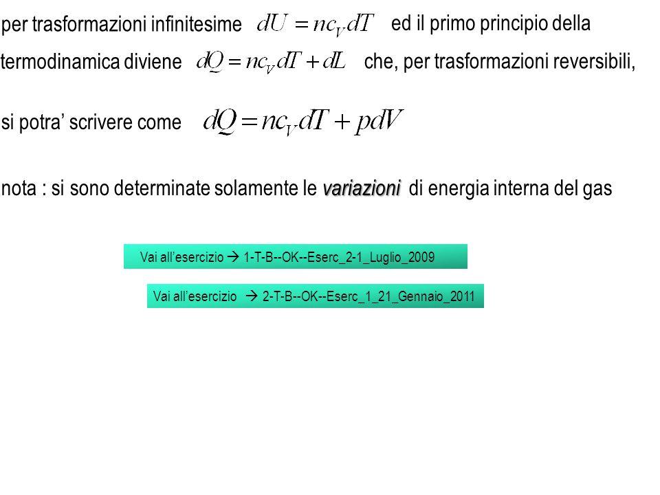 Vai allesercizio 1-T-B--OK--Eserc_2-1_Luglio_2009 per trasformazioni infinitesime ed il primo principio della variazioni nota : si sono determinate so