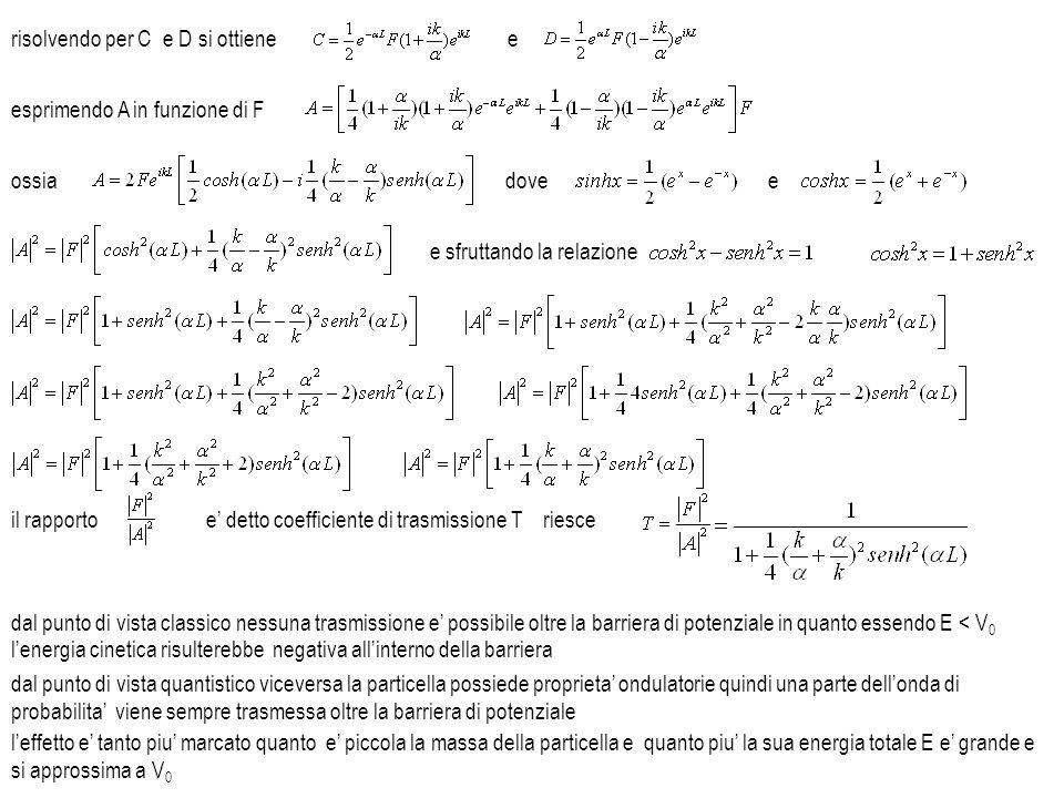 esprimendo A in funzione di F ossiadovee e sfruttando la relazione il rapportoe detto coefficiente di trasmissione T dal punto di vista classico nessu