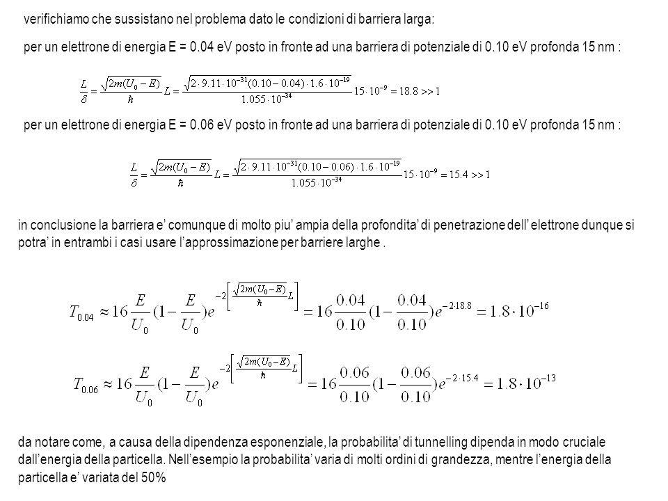 per un elettrone di energia E = 0.04 eV posto in fronte ad una barriera di potenziale di 0.10 eV profonda 15 nm : per un elettrone di energia E = 0.06