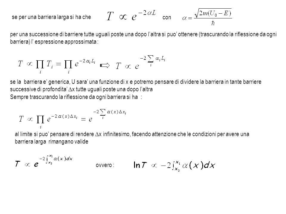per una successione di barriere tutte uguali poste una dopo laltra si puo ottenere (trascurando la riflessione da ogni barriera) l espressione appross
