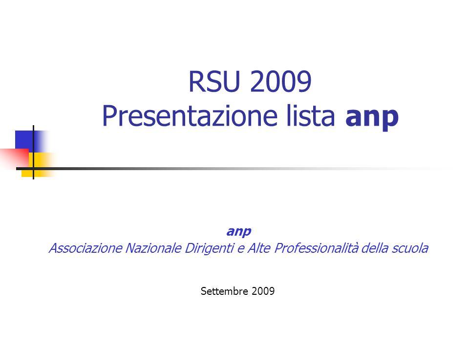 RSU 2009 - Presentazione lista anp - Settembre 2009 2 RSU 2009 Presentazione lista anp martedì 13 ottobre 2009: inizio presentazione delle liste martedì 2 novembre 2009: termine per la presentazione delle liste
