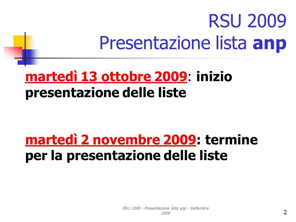 RSU 2009 - Presentazione lista anp - Settembre 2009 2 RSU 2009 Presentazione lista anp martedì 13 ottobre 2009: inizio presentazione delle liste marte