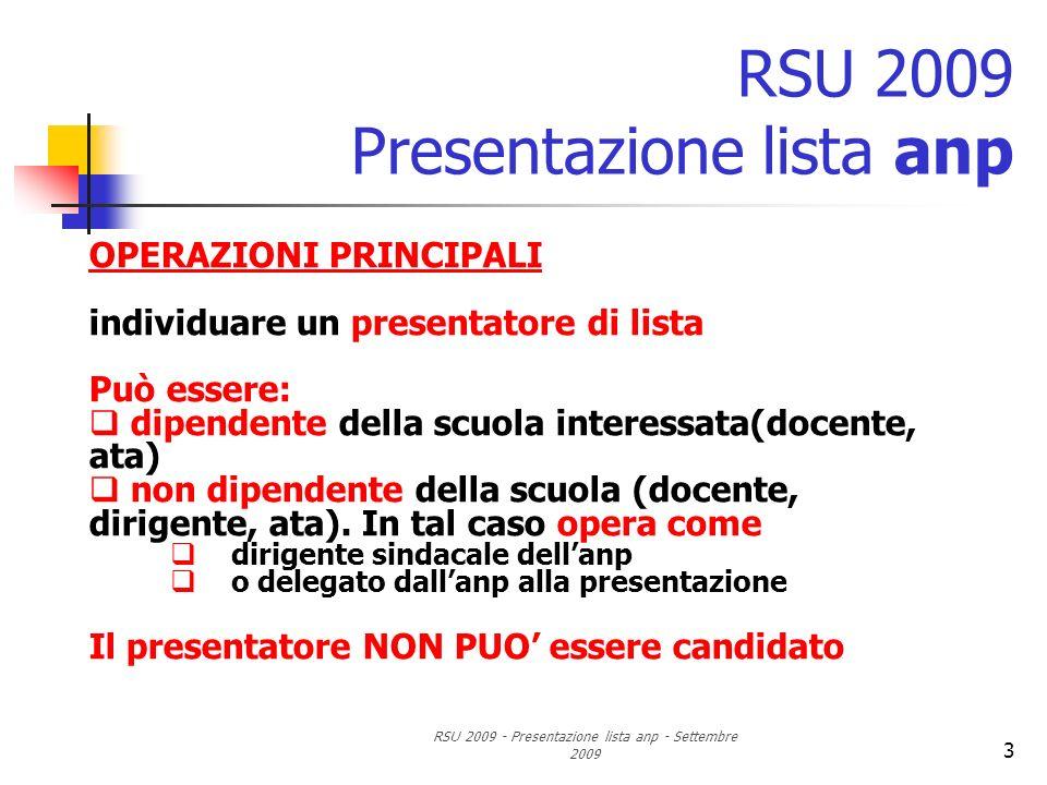 RSU 2009 - Presentazione lista anp - Settembre 2009 3 RSU 2009 Presentazione lista anp OPERAZIONI PRINCIPALI individuare un presentatore di lista Può